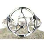 Silver Plated Brass Pentacle Ring Size 10