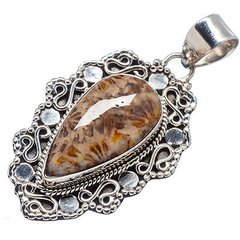 Fossil Coral 925 Sterling Silver Pendant