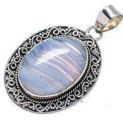 Blue Lace Agate Pendant 925 Sterling Silver