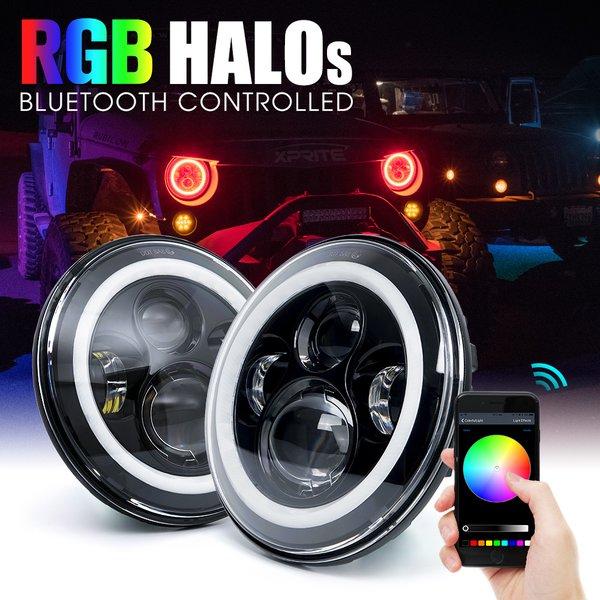 CREE LED Headlights With RGB Halo For 1997-2018 Jeep Wrangler
