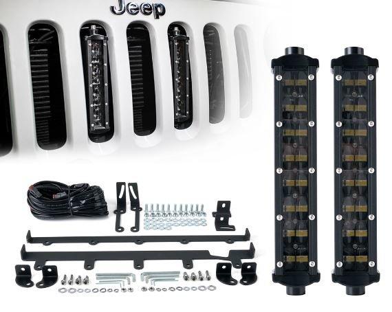 "2PC 8"" Double Row Philips LED Grille Light Kit for 2007-2017 Jeep Wrangler JK"