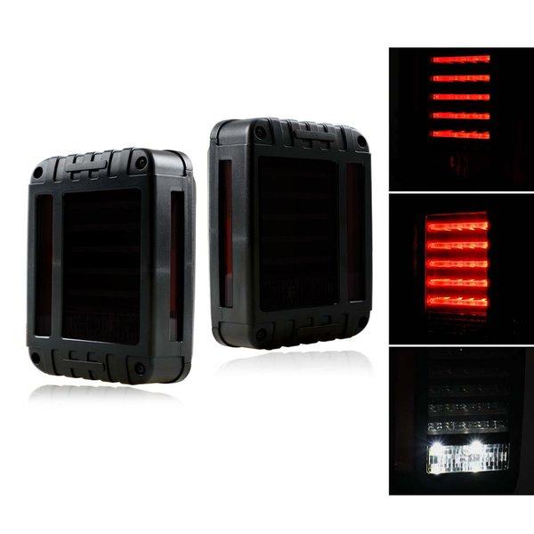 Smoke Lens G2 LED Tail Light Assembly w/ Turn Signal & Back Up For Jeep Wrangler JK JKU 2007 - 2017