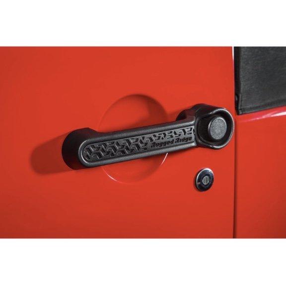 RUGGED RIDGE Door Handle Inserts, Black Tread, 2 or 4 Door; 07-16 JK