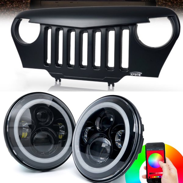 TJ Headlight Grille Combo Angry Bird TJ Combo -RGB Halo Headlights and Grille For 1997-2006 TJ Jeep Wrangler