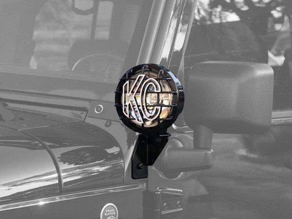 WINDSHIELD SIDE MOUNT LIGHT BRACKET FOR JEEP JK (2007-2018) BLACK - KC #7317