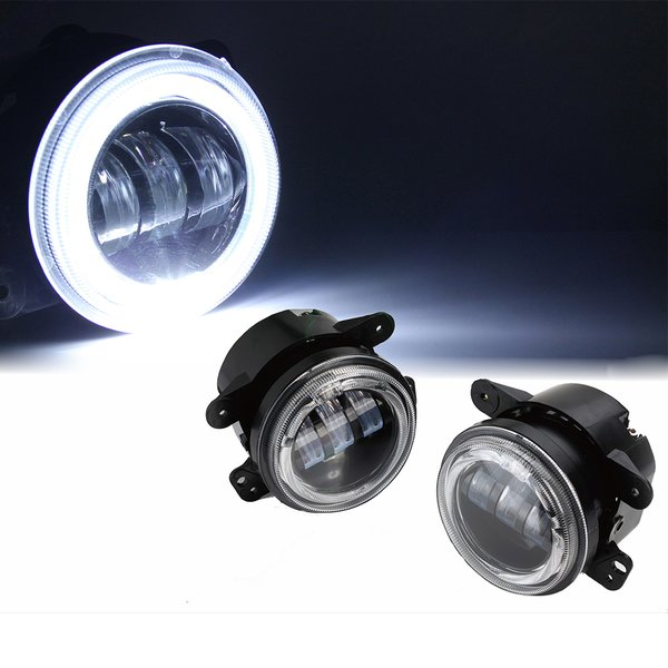 "White 4"" 60W CREE LED 1997-2017 Jeep Wrangler Fog Lights W/ Halo Ring DRL"