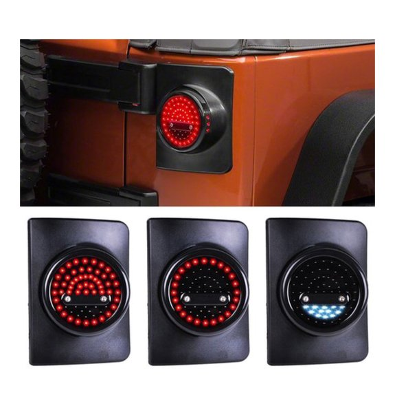 Round LED Taillight with Smoke Lens For 07-17 Jeep Wrangler