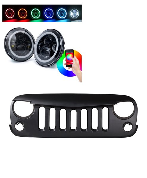 Headlight Grille Combo CREE LED RGB Halo Headlights and Angry Bird Grille 2007-2017 Jeep Wrangler