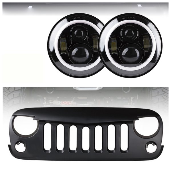 Headlight Grille Combo 80W CREE LED Headlights With Halo and Angry Bird Grille 2007-2017 Jeep Wrangler