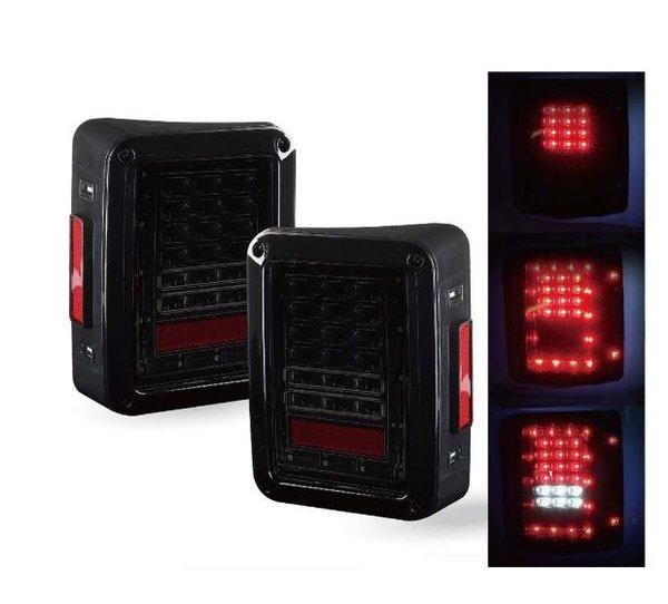 Smoke Lens LED TailLight Assembly w/ Turn Signal & Back Up For Jeep Wrangler JK JKU 2007 - 2017