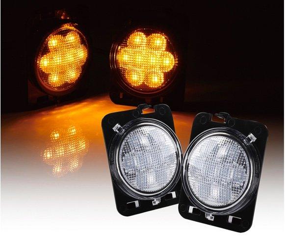 Smoke/ Clear Lens LED Side Marker Fender Lights for 2007 - 2017 Jeep Wrangler
