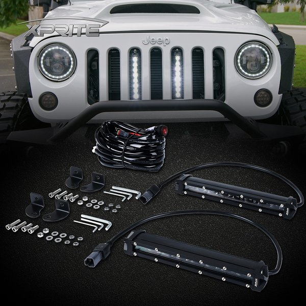 "8"" Single Row Philips LED Grille Light Kit for 2007-2017 Jeep Wrangler JK"