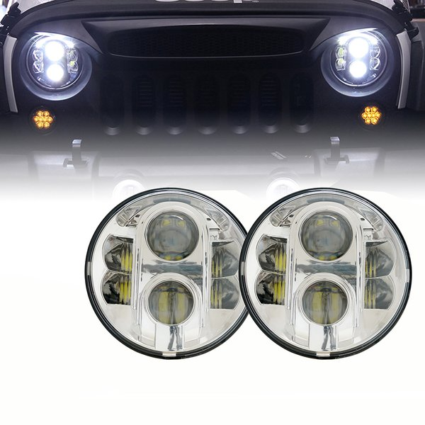 """7"""" 120W CREE LED G4 Chrome Projector Headlights For 1997-2017 Jeep Wrangler"""