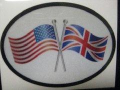 USA/Union Jack Crossed flag bumper sticker