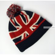 Union Jack Woollen Winter Hat with Pom pom - Temp out of stock
