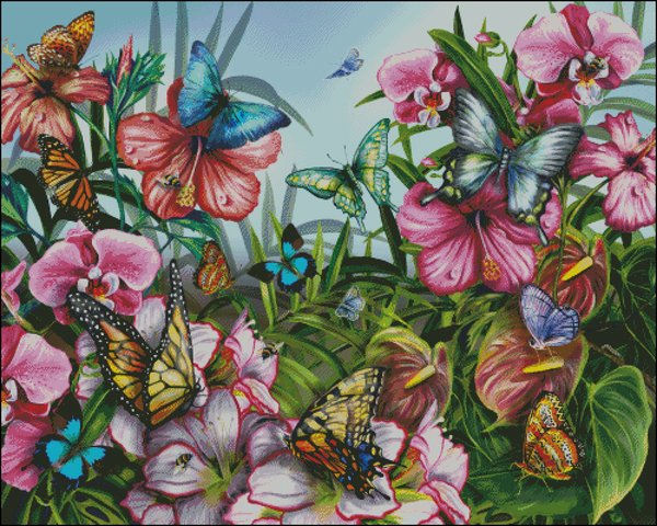 Butterfly garden counted cross stitch pattern shinysun 39 s for Butterfly garden designs free