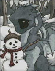 Baby Dragon with Snowman