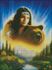 Indian Girl with Bear