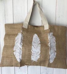 Jute Beach Bag- Feathers
