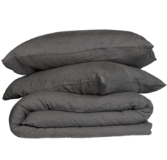 French Linen Quilt Cover Set- Charcoal