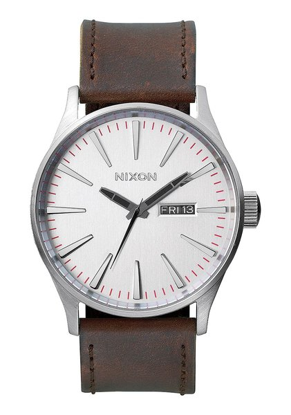 Nixon Sentry Leather 'Silver / Brown'