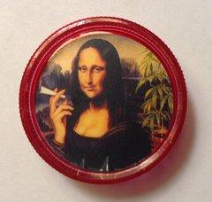 Red mini grinder. Mona Lisa smoking weed