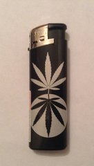 Black & silver electronic lighter leaf design 3