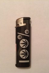 Black & silver electronic lighter leaf design 1