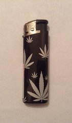 Black & silver electronic lighter leaf design 2