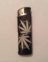 Black & silver electronic lighter. Leaf design 5