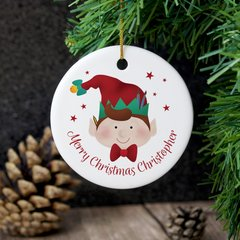 Personalised Christmas Elf Round Ceramic Decoration