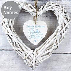 Personalised Home is Where... Wicker Heart Decoration