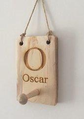 Personalised wooden peg hook
