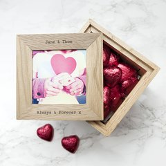 Personalised Oak Wooden Photo Cube