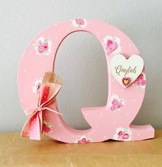 Hand painted letter Pink roses design