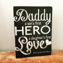 Daddy a sons first hero wooden freestanding block