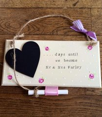Wedding day count down chalk board personalised