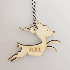 Wooden Reindeer Decoration Personalised