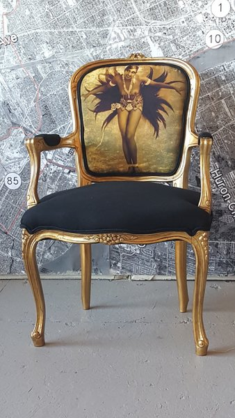 chair louis gilt vintage antique accent josephine baker french glamorous black and gold. Black Bedroom Furniture Sets. Home Design Ideas