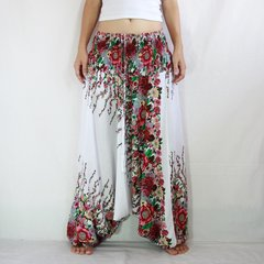 C12 Red Floral White Women Low Cut Jumpsuit Harem Pants
