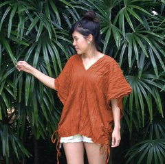 I02 Retro Karen Women Orange Cotton Gauze Top Bohemian Boho Blouse