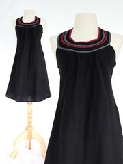 H13 Summer Flirt Women Black Bib Dress Cotton Mini Dress
