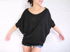 A21 Origami Casual Comfy Oversized Women Black Dolman Sleeves Top