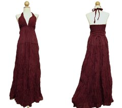 C18 Simply Elegant Cotton Ruby Red Halter Maxi Dress Bridesmaid Dress