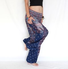 D26 Genie Peacock Feathers Navy Harem Pants w. Pockets