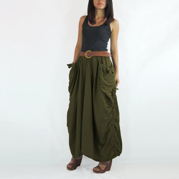 Lagenlook Maxi Skirt Big Pockets Long Skirt in Olive Army Green ...