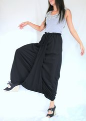 D14 Mulan Women Black Harem Pants Sarouel Baggy Festival Loose Genie Pants