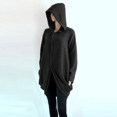 F01 Wanderer Women Black Jacket Long Winter Oversized Hooded Coat Knee Length