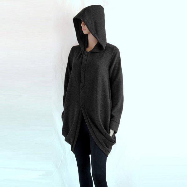 Women Black Jacket Long Winter Oversized Hooded Coat Knee Length ...