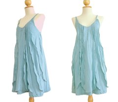 A13 Sea of Love Women Petit Ruffled Sky Blue Summer Mini Dress Spaghetti Strap